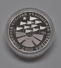 1985 Italie 500 L Pièce Argent-EC Présidence (Proof/fondo specchio)
