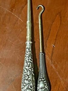 ANTIQUE BOOT PULLER W/ STERLING SILVER HANDLE LOT (2)