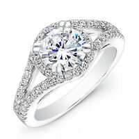 1.34 Ct Diamond Engagement Ring Hallmarked 18K White Gold Solitaire Size N