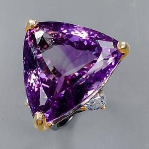 24ct+ Vintage SET Amethyst Ring Silver 925 Sterling  Size 7.75 /R159056