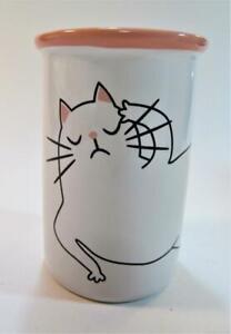 Novelty Bath Ceramic Cat Make Up Brush Holder or Tumbler White with Pink trim