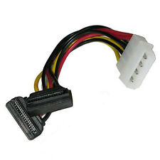 """6"""" Inch Molex to Dual SATA Female 270° Right Angle Power Y Cable - Down Type"""