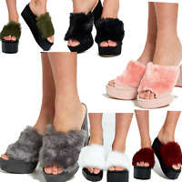 JUSTYOUROUTFIT Womens Chunky Real Fur Suede Heels/Slippers/ Platform Slider
