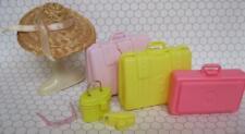 Barbie doll Plane/CRUISE Ship/Travel Agency/Hotel Luggage Suitcase Straw Hat Set