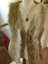 Ladies NEXT faux fur GILET BODYWARMER size UK 10 8 festival hippy long line