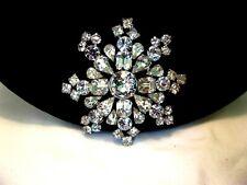 Vintage Silver Plate Brooch pin Weiss Diamante Glass rhinestone Snowflake Snow