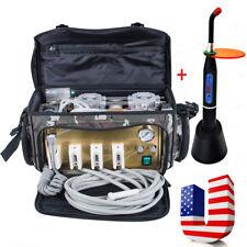 Portable Dental Turbine Unit 4 Hole Air Compressor Suction 3Way Syringe Bag+GIFT