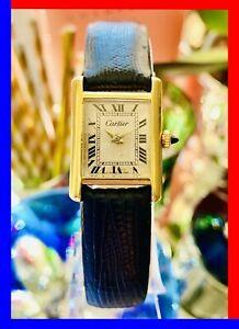 VINTAGE 70s CARTIER PARIS TANK LADIES 21MM 18K GOLD PLATED MANUAL WIND SERVICED