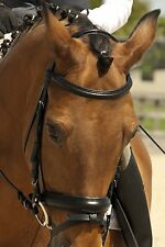 NEW BLACK RHINEGOLD GERMAN LEATHER COMFORT BRIDLE with FLASH XFULL