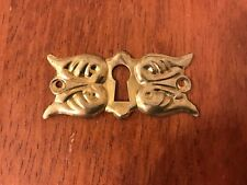 Pair of Victorian Style Stamped Brass Decorative Escutcheon Key Hole Cover