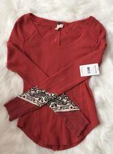NEW Free People Bandana Cuff Waffle Knit Thermal Shirt Top Orange Red S SMALL