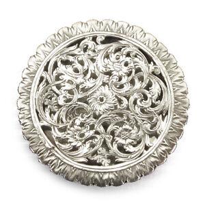 Antique German Pierced & Engraved Silver Table Pomander Vinaigrette Box, C.1700