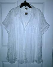 Salon Studio Women's 2pc White Button Up Blouse Tank Top Camisole Floral Sz L