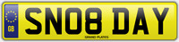 DAYS SNOB NUMBER PLATE SN08 DAY CHERISHED CAR REG DAYLEY DAYLE DAYNA DAYMON REG