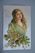 R&L Postcard: Greetings, American Embossed Glamour Beauty Christmas