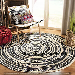 """2""""Indian Natural Jute Braided Rug Cotton Round Rug Decor Dining Floor Living Rug"""
