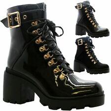 Mujeres Gótico Punk Cremallera Zapatos De Plataforma Gruesa Hebilla Damas Botas al Tobillo Con Cordones Talla