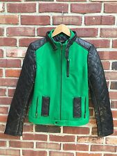 NORDSTROM Truth Of Touch Green Black QUILTED Lamb Leather Moto Jacket * S Small