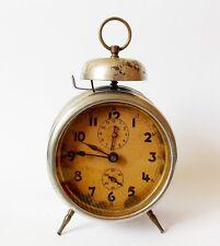Antique  1930s Alarm clock Germany Vintage old desk table retro chrome