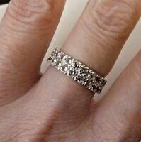 9ct White Gold Full Eternity Stone Set - Double Row Ring - Size M - Vintage