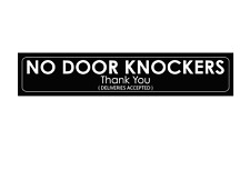 No Door Knockers Sign - Sticker  (200x40mm) Gloss