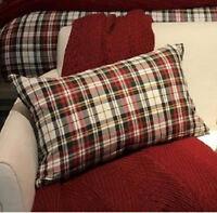 Pottery Barn Denver Lumbar Pillow Cover Plaid Red Ivory 16x26 Christmas New