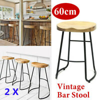 Set of 2 Counter Bar Stools Wood Bistro Dining Kitchen Pub Chair Furniture Retro