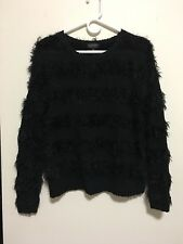 Topshop fluffy STRIPE BLACK SWEATER Jumper US size 4