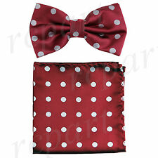 New Men's Pre-tied Bow Tie & Pocket Square Hankie burguny silver dots formal