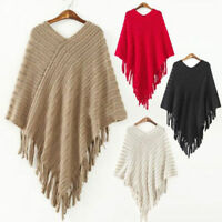 Women Ladies Knitted Warm Poncho Cape Wrap Shawl Sweater Jacket One Size UK 8-16