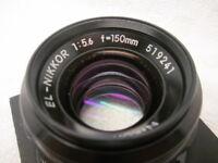 Nikkon EL-NIKKOR f=150mm 1:5.6 Lens 519241 w/ Mount Base