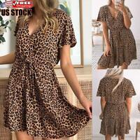 Women's Short Sleeve Leopard V Neck Mini Dress Party Swing Dresses A-Line Dress