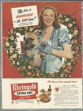 1947 RHEINGOLD BEER advertisement, Miss Rheingold with bulldog