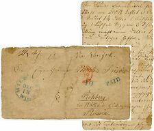 USA 1847 MILWAUKEE PAID in BLUE to PRUSSIA FRONT ONLY