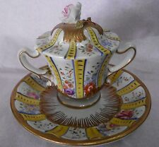 SEVRES COVERED TWO HANDLED CUP & SAUCER WITH ROSE FINIAL - 1890's
