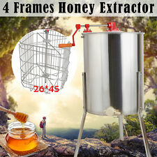 Pro 4 Frame Stainless Steel Bee Honey Extractor Honeycomb Manual Stainless Steel
