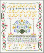 Floral Alphabet Sampler - complete cross stitch kit on 14 aida with COLOUR chart