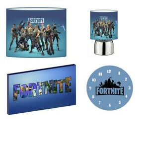 Fortnite -Blue - Light Shade, Touch Lamp, Clock, Canvas Bedroom Bundle