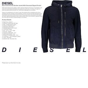 Leather Jacket DIESEL Mens New Blue Sheepskin Suede Hoodie Bomber - WAS £590.00