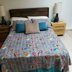 Indian Handmade Mukut Print Quilt Twin Kantha Bedspread Cotton Blanket Gudari