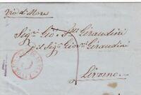 """1857 da Genova a Livorno - raro annullo allo sbarco """"via di mare C"""" rosso 8000€"""