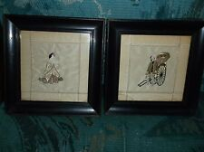 Antique Japanese pair of framed embroidered silk man and woman