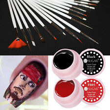 17pcs Nagel Acryl UV Gel Farbe Pinsel Kit & Schwarz Rot Gel Polish Maniküre DIY