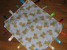 BABY BOYS SECURITY TAG BLANKET, BLUE WITH CUTE TEDDY,S, TO BE PERSONALISED