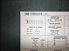 1960 Studebaker Lark VI 169.9 CI L6 SUN Tune Up Chart Excellent Condition!