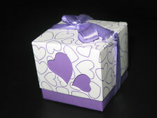50 of Purple Double Hearts Wedding Party Favor Candy Boxes