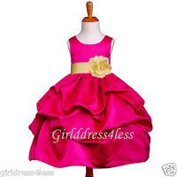 FUCHSIA/YELLOW WEDDING PARTY PICK UP FLOWER GIRL DRESS 6M 12M 18M 2 4 6 8 10 12