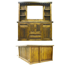 Reclaimed Bar with L Extension and Bar Back Cabinet & Mirror Rustic Lodge Cabin