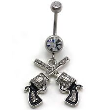 Western Cowgirl Revolver Pistol Gun Dangle Belly Button Navel Ring Body Jewelry