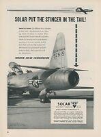 1953 Solar Afterburner Ad Lockheed F-94 Interceptor Jet Fighter Air Force